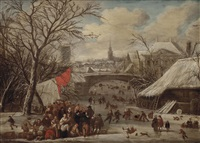 a town in winter with numerous figures on a frozen canal skating, sleighing and conversing by gerrit (gerard) battem