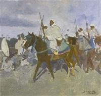 le départ de la fantasia, marrakech by jacques majorelle