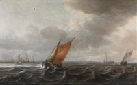 a river estuary with light shipping in a strong breeze, a view of haarlem beyond by justus verwer