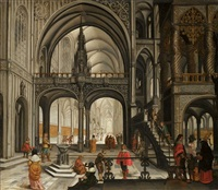 an elegant company in a church interior by abraham van gerwen