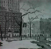 first snow-washington square by carl gustaf simon nelson