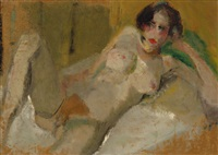 reclining nude on a settee by harrie kuyten