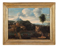 paesaggio con paese fortificato by gaspard dughet