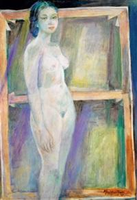 wanita di belakang kanvas (woman behind the canvas) by mochtar apin
