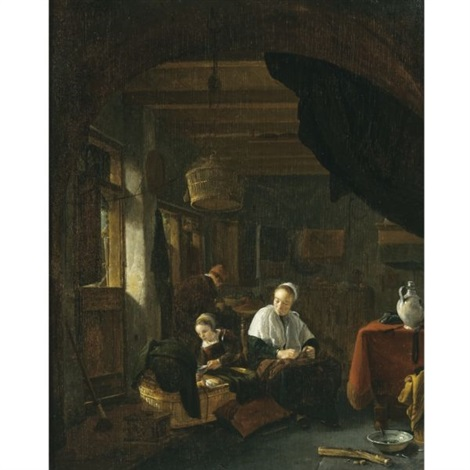 a family in an interior with a young girl feeding a child in a cradle a woman seated nearby by thomas wijck