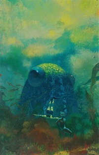 huge-eyed sea creature peering over divers (bk illus. for dolphin island) by paul lehr