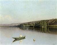pêcheur sur la rivière by emile-louis foubert
