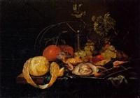 nature morte aux raisins et aux huîtres by guilliam van deynum