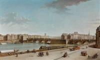 vue de l'ile de la cité avec le pont neuf et la pompe de la samaritaine by jean baptiste nicolas raguenet