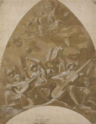 angels and putti making music in the clouds design for a vault by lucio massari