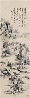 疏林逸趣 立轴 水墨纸本 (landscape) by huang binhong