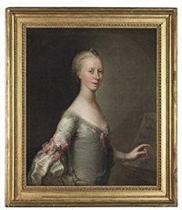 portrait of a lady in a pale grey dress with pink ribbons by john astley