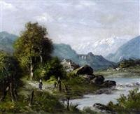 promeneurs au bord de la rivière sur un sentier de montagne by alexander louis lion