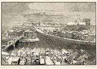 paris sous la neige, vu du haut de saint-gervais (for le monde illustré) by auguste louis lepère