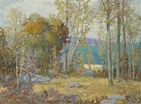 coastal view through the trees by ossip l. linde