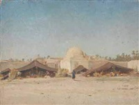 campement devant une ville arabe by jules daubeil