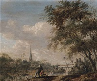 a river landscape with fishermen hauling in nets, a village on the river bank beyond by anthony jansz van der croos