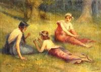 три грации на лугу by hugo loffler