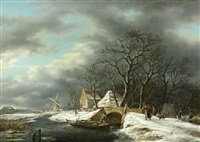 a winter landscape with a woodgatherer crossing a bridge and a peasant in a punter nearby by gerrit hendrik gobell
