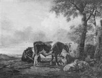 een boer met zijn vee by anthony jacobus offermans