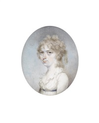 a lady, wearing white dress with frilled collar and blue sash ribbon to her waist, her hair curled and powdered by nathaniel freese