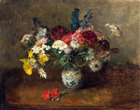 stilleven met bloemen in blauw-witte vaas by jacob simon hendrik kever
