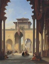 court of the lions, the alhambra, granada by françois antoine bossuet