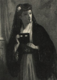 woman wearing a black mantilla by george augustus freezor