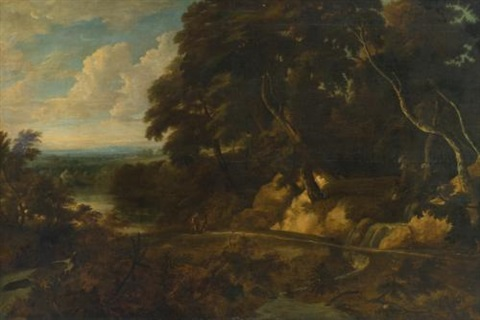 an extensive landscape with figures along a path by roelant roghman