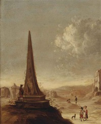 an italianate landscape with a grand tourist studying the inscriptions on an obelisk by horatius de hooch
