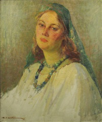 his wife's portrait by honorius cretulescu