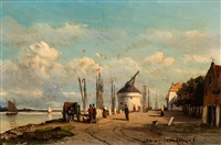 activity on the quay by jan weissenbruch