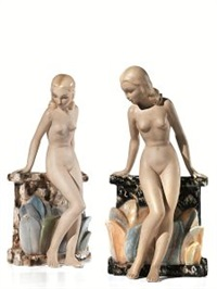 coppia di figure femminili (pair) by c.i.a. manna (co.)