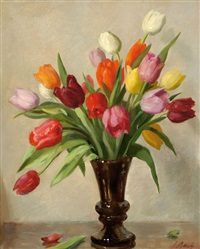 tulips in a vase by solomon garf