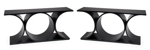 double x console tables pair by karl springer
