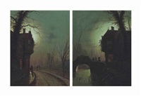Figures on a moonlit road beside a house; and...