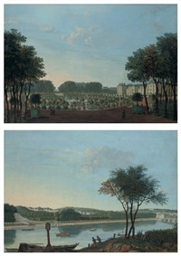 the gardens and façade of the palais du luxembourg, paris (+ the gardens and château de saint-cloud, smllr; pair) by antoine pierre mongin