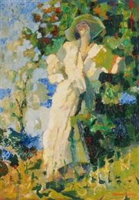 elegante dame sich zurücklehnend in der sonne vor einem busch am lago maggiore by giuseppe amisani