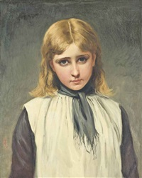 portrait of a young girl in a pinafore by charles sillem lidderdale