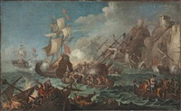 a sea battle with men boarding a floundering man-of-war by johann anton eismann