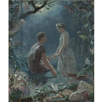 hermia and lysander, a midsummer night's dream by john simmons
