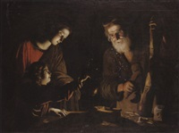 the virgin and child with saint joseph at the work bench by trophîme (theophisme) bigot the elder