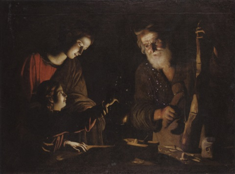 the virgin and child with saint joseph at the work bench by trophîme theophisme bigot the elder