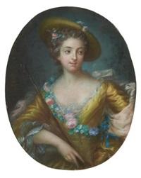 portrait d'une jeune femme en bergère by pascal-leon de glain