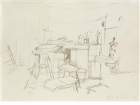 the studio with bottles (from l'atelier d'alberto giacometti) by alberto giacometti