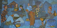 village market scene by nike davies-okundaye