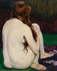 seated nude from the back by leon kroll