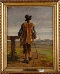jeune paysan à la barrière by paul van der vin