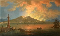 the bay of naples with the eruption of vesuvius by pietro antoniani