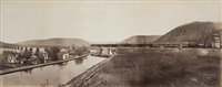 spectacular panoramic view of a train heading east on rockville bridge, penn. by frederick gutekunst